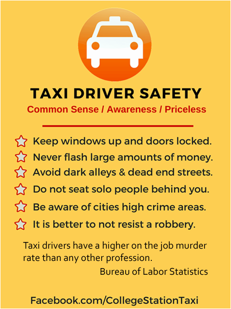 Taxi Cab Driver Safety Tips